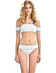XM Coffret Enroulé Blanc Avec Un Maillot De Bain Pli Bikini Plissé