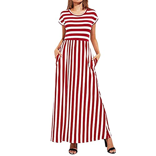 Moonuy,Kleid Damen Sommer,Langes Kleid der Frauen, Damen-Cocktailkleid, beiläufiges Kurzes Hülsen-Elastische Taillen-Gestreiftes Elegantes Dünnes Maxi Kleid mit Taschen (EU 40/Asien XL, Rot) (Strickjacke Tasche)