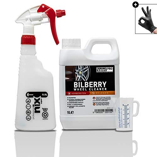detailmate Felgenreiniger Set: ValetPRO Bilberry Wheel Cleaner 1 L - Felgen Reiniger Konzentrat + Kwazar nix super Sprühflasche + 50ml Messbecher