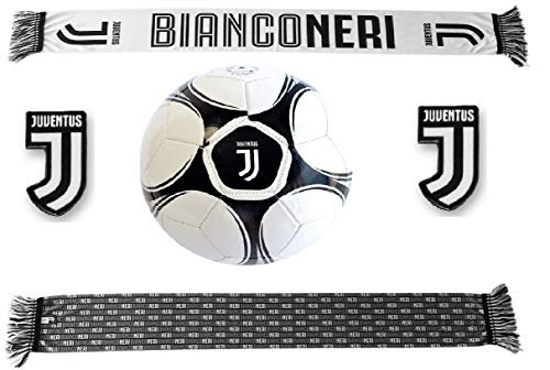 Giemme Kit Tifoso Juventus Juve bianconeri-Pallone da Calcio di Cuoio Juventus + Sciarpa in Poliestere di Raso bianconeri con 2 Calamite Juve in Omaggio
