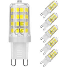 LE Bombillas LED G9 5W = 50W Halógena, Blanco frío 5000K, Haz 360°, Pack de 5