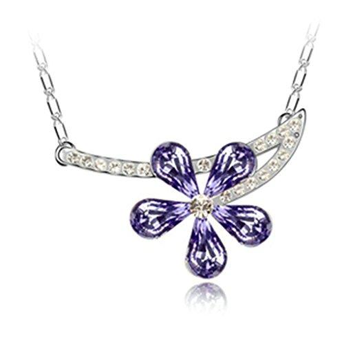Daesar Schmuck Damenkette Vergoldet Blume Halskette Zirkonia Strass Anhänger Halskette für Frauen