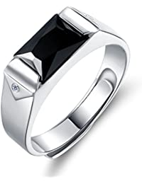 YourJewellerybox TK726 rectangle genuine ONYX MENS RING ALL SIZES 18KT STEEL BASE NO TARNISH
