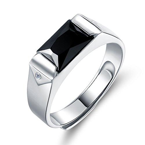 JiangXin Luxus Gentleman Öffnung Verstellbar Schwarze Herren Man Ringe Silberring Massivem 925 Sterlingsilber