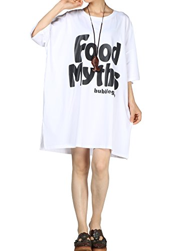 Vogstyle Damen Sommer Plus Größen T-Shirt Kleid Bedruckte Tunika Oberseiten White (Finden Sie über Die Plus Größe Kleid)