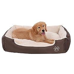 SONGMICS Hundebett mit beideseitig nutzbarem Hundekissen, kuschelig und groß (L: 90 x 70 x 17 cm)