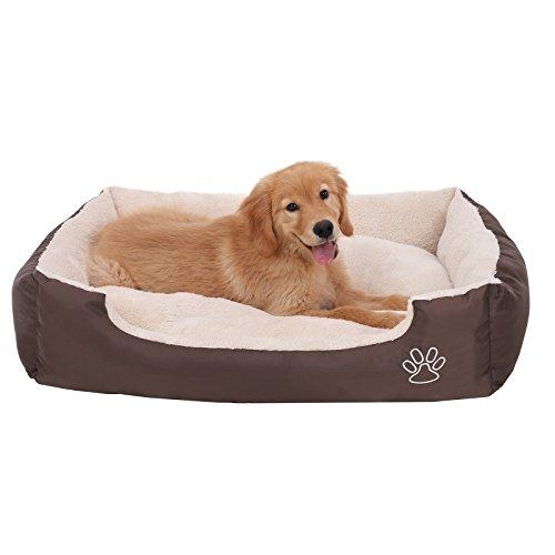 SONGMICS Hundebett mit beideseitig nutzbarem Hundekissen, kuschelig und groß 90 x 70 x 17 cm PGW04Z
