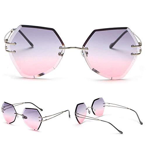 ZHANGNING0329 SonnenbrillenFrauen Hexagon Rahmenlose Sonnenbrille Box Uv400, C