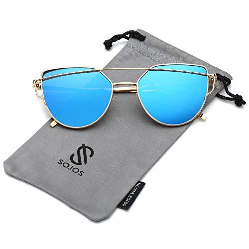 SOJOS Katzenauge Metall Rand Rahmen Damen Frau Mode Sonnenbrille Verspiegelt Linse Women Sunglasses SJ1001 mit Gold Rahmen/Blau Linse