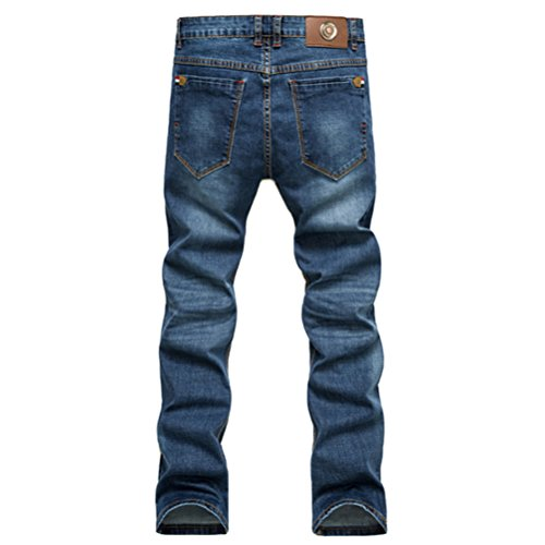 Zhhlinyuan Mode Mens Cotton Washed Denim Jeans Straight Leg Slim fit Stretch Blue