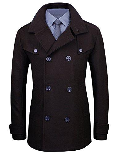 HRYfashion classique manteau d'hiver pour homme avec imprimé sur la poitrine et schulteraufsatz Marron - Marron