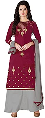 Aadhya Creartion Embroidred Red Colour Cambric Cotton Regular and Party wear Punjabi Patiyala Patiala Plazzo plazos Salwar suits For Women Girls Dress Materials suit Kameez(ACPZ3005_Red_Free Size )