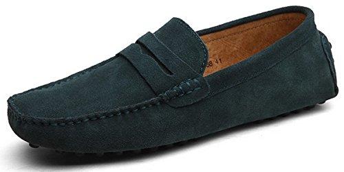 Joomra mocassins scarpe da uomo casual cuoio eleganti estivi nappine pelle senza lacci barca pantofola grigio scuro 49