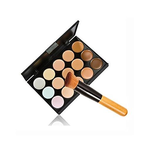 JasCherry 1 Stück Make Up Pinsel + 15 Farben Concealer Abdeckcreme Camouflage Palette Cover Abdeck Makeup