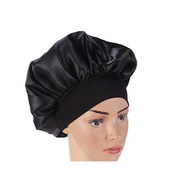 SUPVOX Satin Long Hair Bonnet Night Hat for Women and Girls (Black, 56-58 cm)