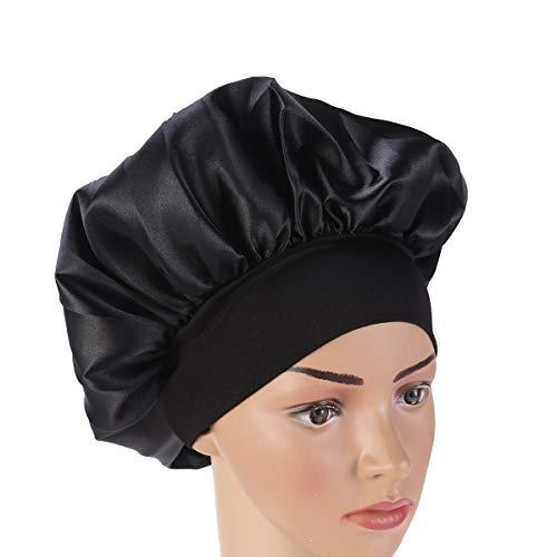 SUPVOX Sombrero de Gorro de Dormir de satén Gorro de Noche Sombrero de Pelo Largo Sombrero de Gorro de Pelo de Noche para Mujeres niñas - Negro (56-58cm)