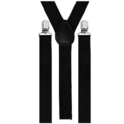 Hosenträger Gummiband 3er Clips Anzug Unisex Hose Träger Clout Verstellbar (Schwarz)