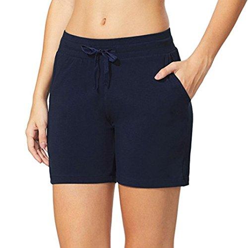 OHQ Damen Mesh Radlerhose Kurze Leggings Yogahose Sporthose Shorts mit Taschen für Fitness (Marine, M)