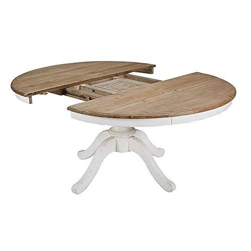 Mesa redonda extensible blanca pie central 100-110 - 120-130 ...