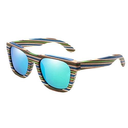 Fenteer Bambus-Sonnenbrille - polarisiert & UV400 - verschiede Farben u verspiegelte Gläser, Damen, Herren, Unisex - Holz, UV-Schutz - Grün