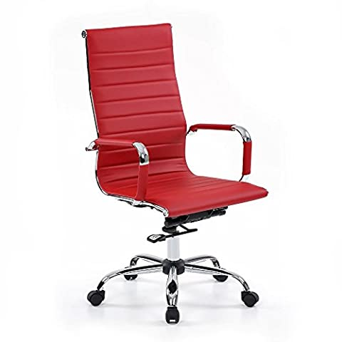 IKAYAA PU Leather Office Chair Stool Adjustable Swivel Computer Chair Task Chair Office Chair Furniture