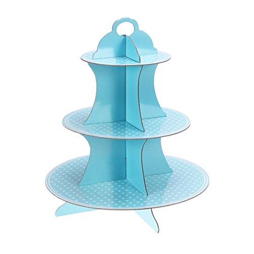 TOYMYTOY Cupcake Ständer,3 stöckig Pappe Blauer Kleiner Punkt Papier Kuchenständer Kuchen Turm für Babyparty Geburtstags Party Kuchen Nachtisch Halter (Cupcake Karton Steht)