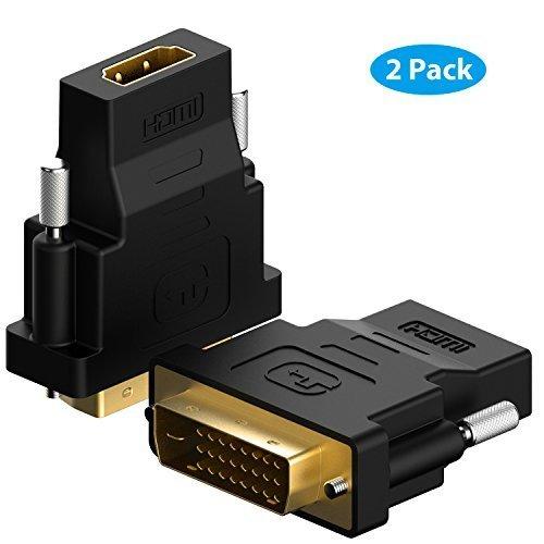 DVI auf HDMI, Rankie 2-Stück Vergoldet 1080P DVI-D zu HDMI Male zu Female Kabel HDTV Adapter Konverter (Schwarz)
