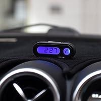 Folconroad DOEU-TQ0056 - Reloj para salpicadero de Coche (medidor de Temperatura del vehículo con retroiluminación LED, 12/24 Horas, -20℃ a 50℃), Color Negro