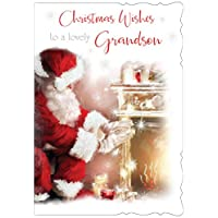 """Cards Galore Online Grandson Christmas Card - Santa warming hands on Fire with Glitter 7.5"""" x 5.25"""" XAB11"""
