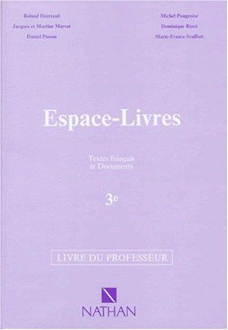Espace livres, 3e. Professeur