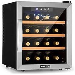 Klarstein Reserva 16 - Cave à vin thermoélectrique, Manipulation facile, Commande avec écran à LED, 16 bouteilles de vin, 48L, 11 à 18 ° C, Argent