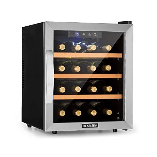 Klarstein Reserva 16 Weinkühlschrank, Thermoelektrischer Getränkekühlschrank, Energieeffizienzklasse B, 34 dB, 1 Zone, 48 L, 16 Flaschen, 11-18 °C, Glasfront mit Edelstahlrahmen, schwarz