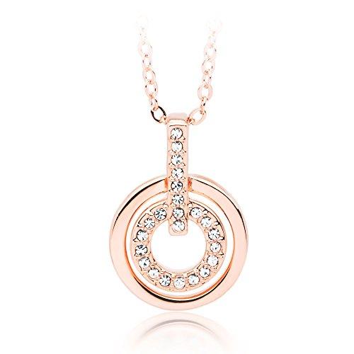 Klassischer Halsketten-Anhänger, rhodiniert mit farblosen Swarovski® Kristallen, 17cm lang und 5cm Verlängerung von My Jewellery Story