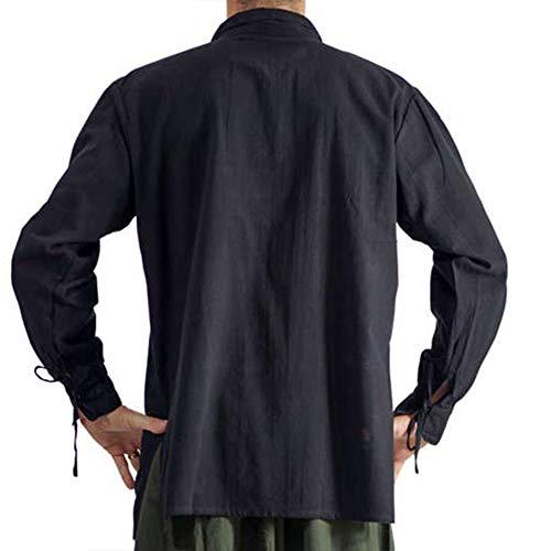 (Runyue Herren Mittelalter Hemd Schnürhemd Gothic Steampunk Viktorianisch Langarm Lace Up Tops Schwarz L)