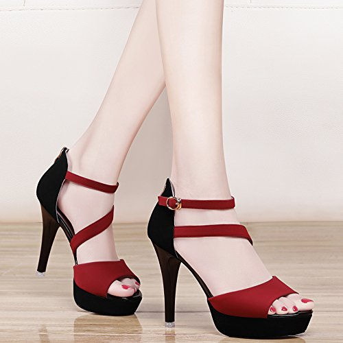 Sommer Damen Mode Sandalen komfortable High Heels, 38 rot Red