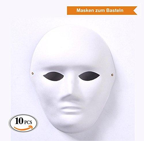 ZADAWERK Volle weiße Maske, unbemalt (10 Stück - -