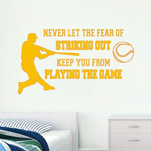 jiushizq Wandtattoo Niemals die Angst Davor Lassen, Zitate zu streichen Aufkleber Baseball Player Poster Vinylwand Für Jungen Zimmer 3 75x42cm -