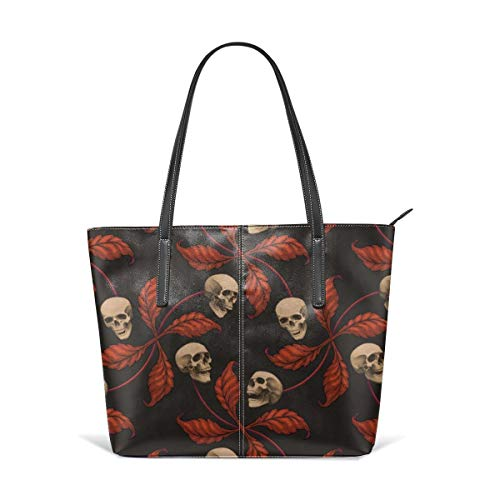 Tote Shoulder Bag VINTAGE HALLOWEEN CHERRY SKULL Large Scale Collection Cherry Skull Rock 'n' Roll Old School Tattoo Print Fashion Handbags Satchel Purse ()