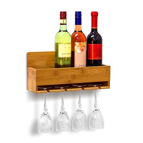 Relaxdays Weinregal mit Glashalter H x B x T: ca. 17 x 37 x 11,5 cm Flaschenregal aus Bambus mit Platz für 4 Flaschen und 4 Gläser zur Wandmontage Hängeregal Holz als Weinflaschenhalter Ablage, natur