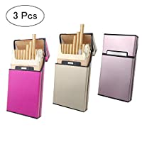 SITAKE 3 Pcs Metal Cigarette Box/Case for Women (20 Capacities) - Cigarette Cigar Protective Cover Box - Brushed Aluminum Cigarette Case, Hard Box with Solid Magnetic Flip Top Closure (3 Colors)