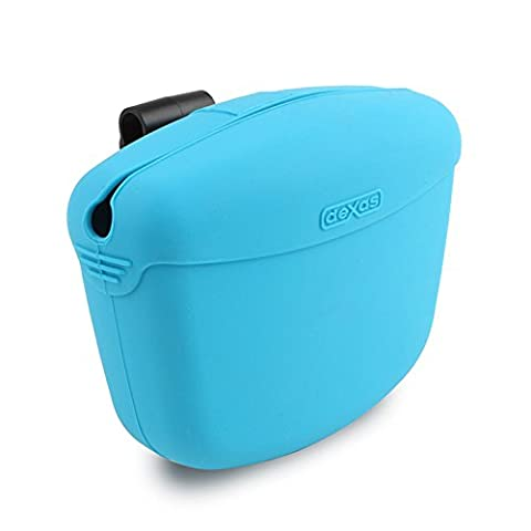Dexas Popware for Pets Pooch Pouch Storage Memory Silicone Sturdy Treats Blue