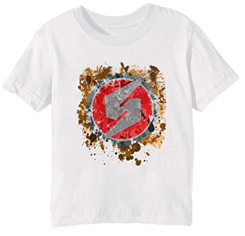 Metroid Symbol Splatter Unisex Jungen Mädchen T-Shirt Rundhals Weiß Kurzarm Größe 2XS Kids Boys Girls T-Shirt XX-Small Size 2XS (Nintendo 3 Ds Smash Bros)