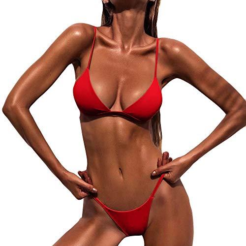 Xmiral Bikini Set Damen Push-Up Gepolsterter BH Einfarbig Strandbadeanzug Bademode Rückenfrei Reizvolle Zweiteiler(L,Rot)