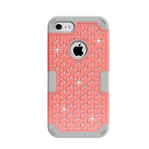 """iPhone 7 Coque,Lantier 3 en 1 Elégant clouté strass cristal Bling double couche hybride [Anti Scratch][antichoc] robuste Housse de protection pour Apple iPhone 7 4.7"""" Mint Green+Gris Red+Grey"""