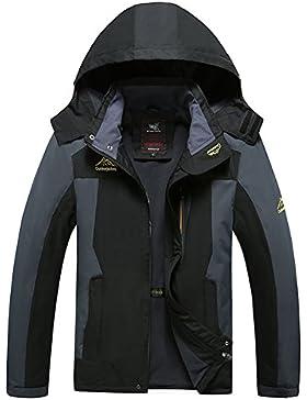 Mochoose Hombre Al Aire Libre Montaña Impermeable Windbreaker Lana Softshell del Esquí Chaqueta con Capucha Ropa...
