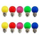 LED Leuchtmittel Set, 10 Stück E27 bunte glühbirne, 1 W, LED Leuchtmittel, Globe Lampe, Energiesparlampe in Rot, Gelb, Blau, Grün und Violett [AC 220 V-240 V] [Energieklasse A+]