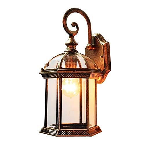 Victoria Antique LED-Außenwandleuchte - Retro Vintage Wasserdicht Rostfrei Glaswandleuchte Laterne - Innenhof Garten Balkon Villa Aluminium Wandleuchte Armatur (Color : Antique copper) -