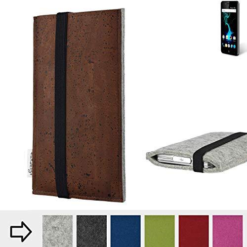 flat.design Handy Hülle Sintra für Allview P6 Pro maßgefertigte Handytasche Filz Tasche Schutz Case braun Kork