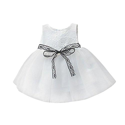 smileq Spitze Prinzessin Kleid für Neugeborene Baby Mädchen Button Schleife Spitze Net Garn ärmellos Tutu Kleidung Kleidung, weiß, 12 m (Weiß Cute Tutu Tüll)