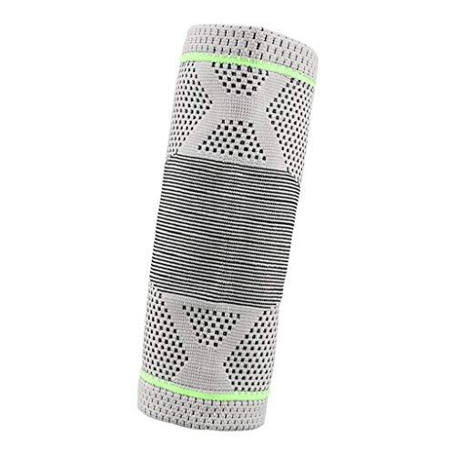 IPOTCH Elastische Ellenbogen Bandage für Damen & Herren, Kompression Ellenbogenschoner für Sport - Grau Grün, L